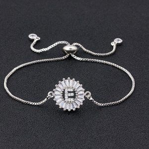 "Silver Round Letter ""E"" Initial Name CZ Bracelet"